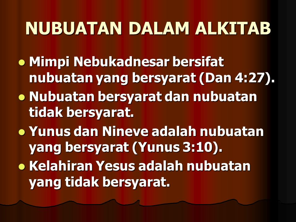 NUBUATAN DALAM ALKITAB