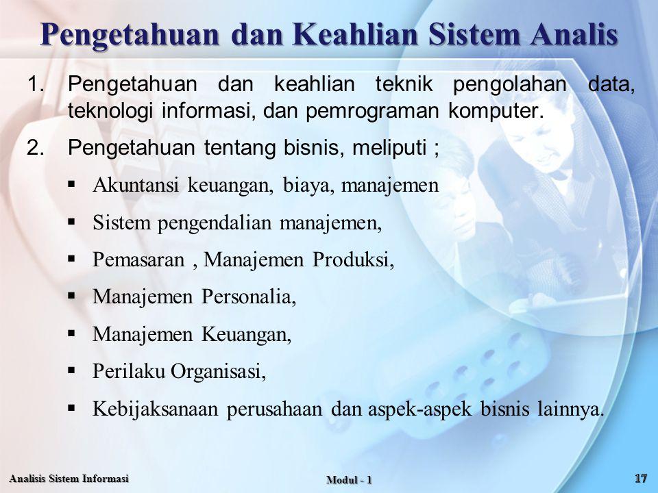 Pengetahuan dan Keahlian Sistem Analis