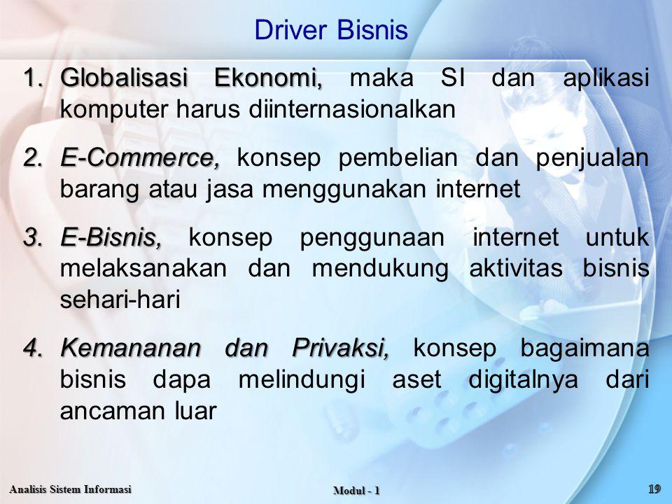 Driver Bisnis Globalisasi Ekonomi, maka SI dan aplikasi komputer harus diinternasionalkan.