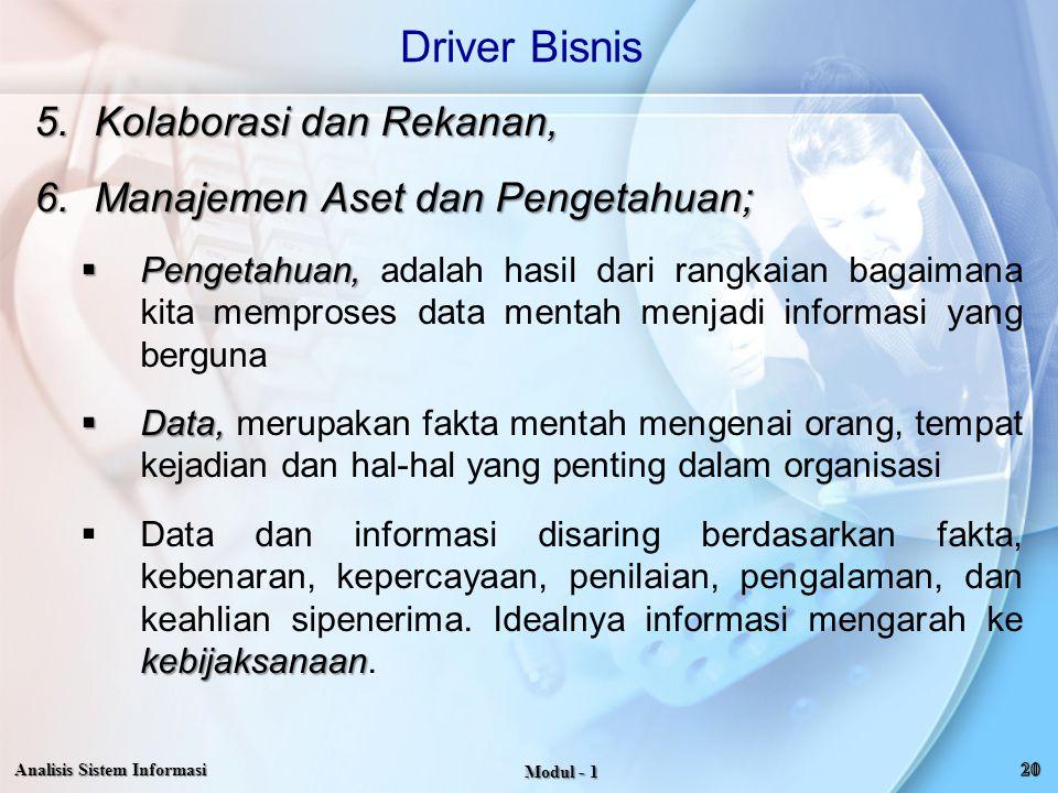 Driver Bisnis Kolaborasi dan Rekanan, Manajemen Aset dan Pengetahuan;