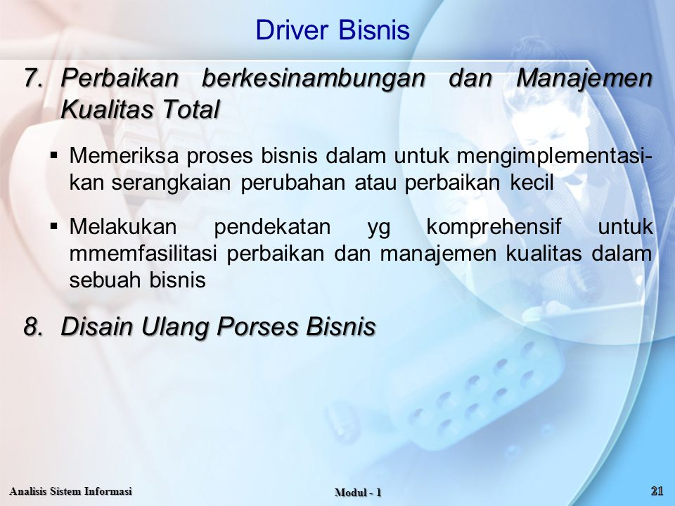 Driver Bisnis Perbaikan berkesinambungan dan Manajemen Kualitas Total