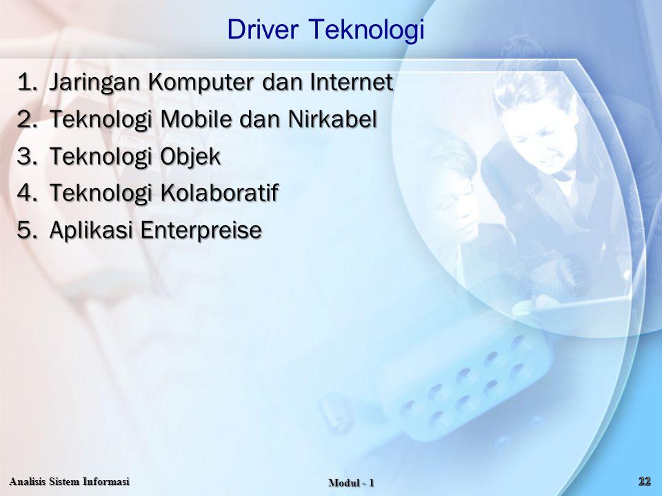 Driver Teknologi Jaringan Komputer dan Internet