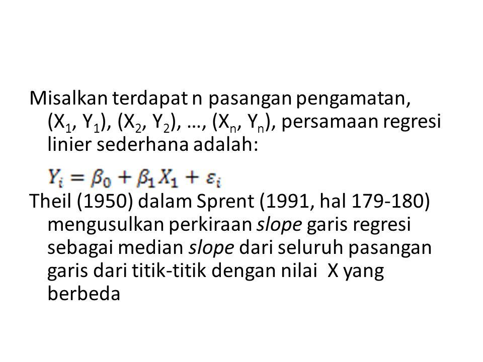 Misalkan terdapat n pasangan pengamatan, (X1, Y1), (X2, Y2), …, (Xn, Yn), persamaan regresi linier sederhana adalah: Theil (1950) dalam Sprent (1991, hal 179-180) mengusulkan perkiraan slope garis regresi sebagai median slope dari seluruh pasangan garis dari titik-titik dengan nilai X yang berbeda