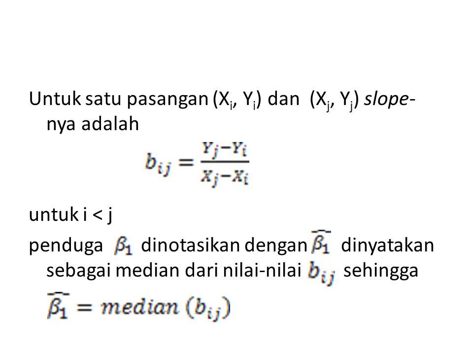 Untuk satu pasangan (Xi, Yi) dan (Xj, Yj) slope-nya adalah untuk i < j penduga dinotasikan dengan dinyatakan sebagai median dari nilai-nilai sehingga