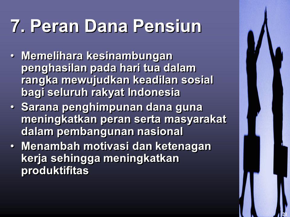 7. Peran Dana Pensiun Memelihara kesinambungan penghasilan pada hari tua dalam rangka mewujudkan keadilan sosial bagi seluruh rakyat Indonesia.