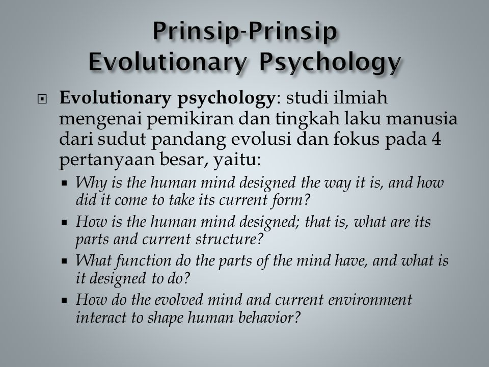 Prinsip-Prinsip Evolutionary Psychology