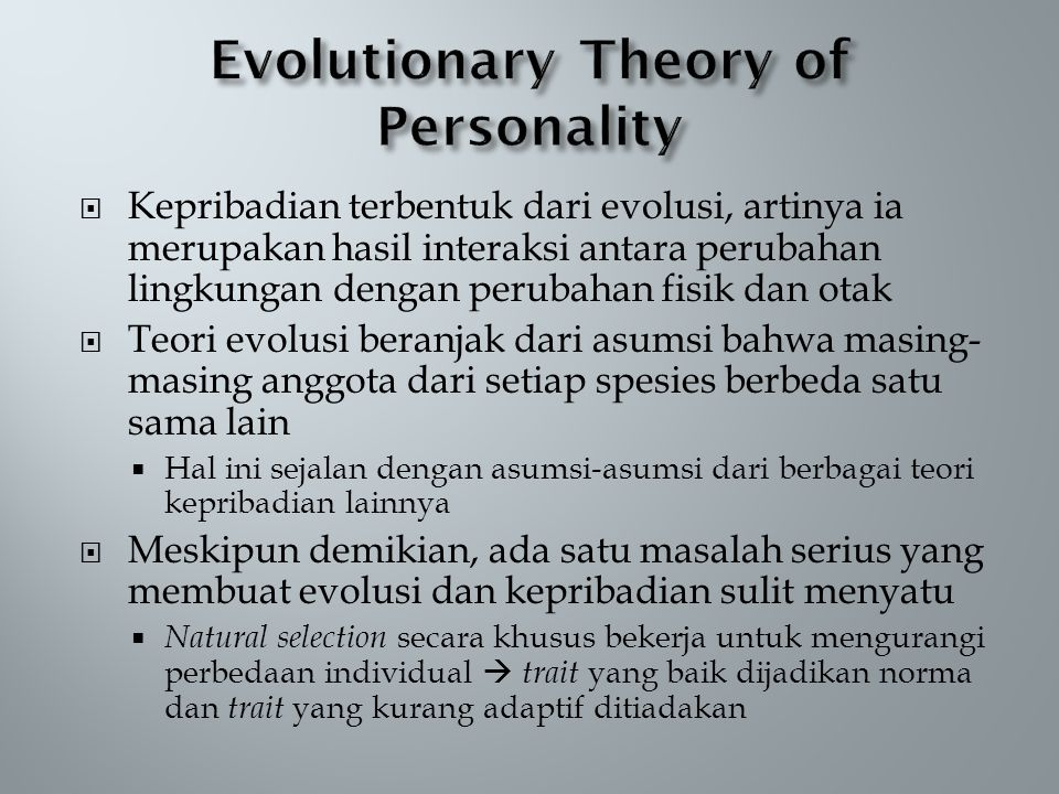 Evolutionary Theory of Personality