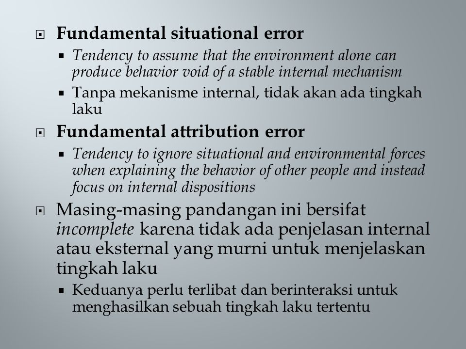 Fundamental situational error
