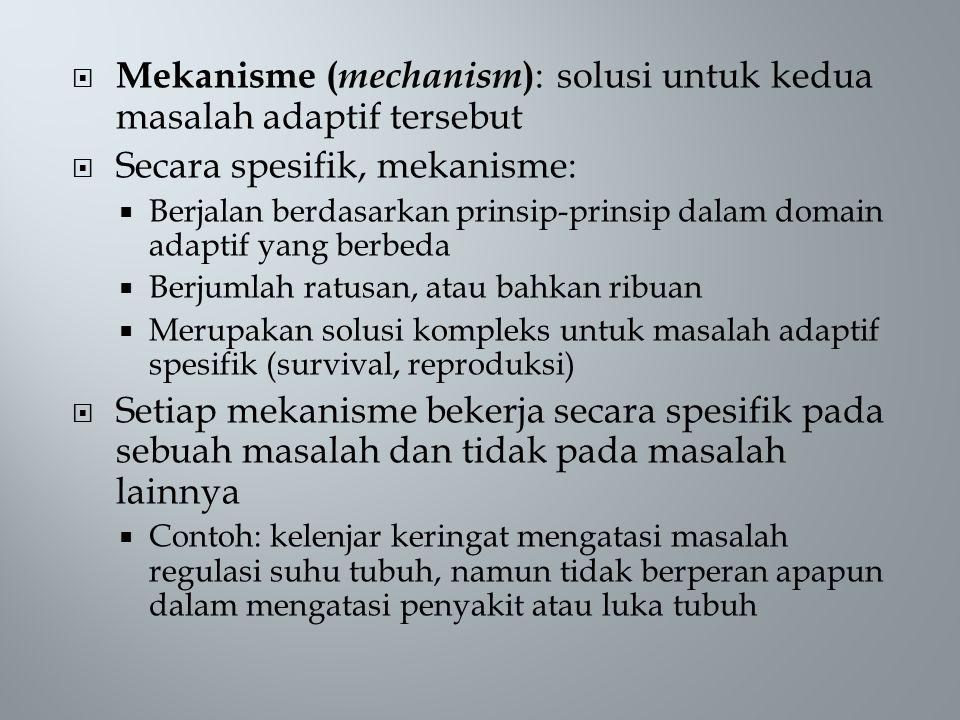 Mekanisme (mechanism): solusi untuk kedua masalah adaptif tersebut