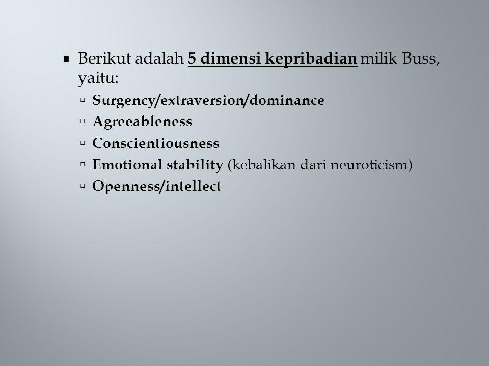 Berikut adalah 5 dimensi kepribadian milik Buss, yaitu: