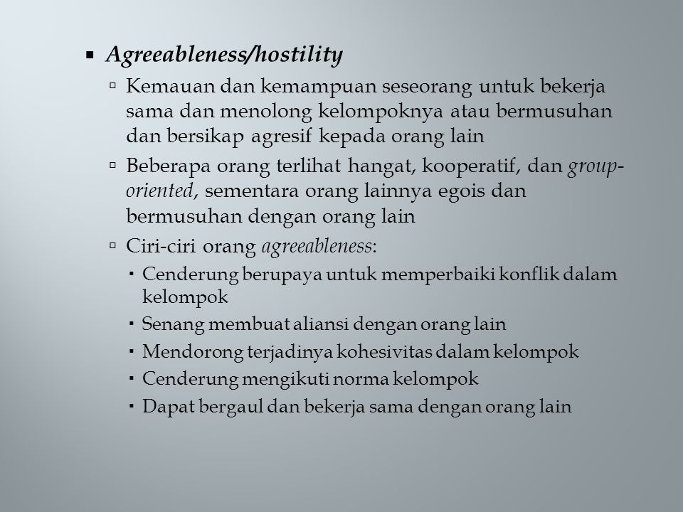Agreeableness/hostility