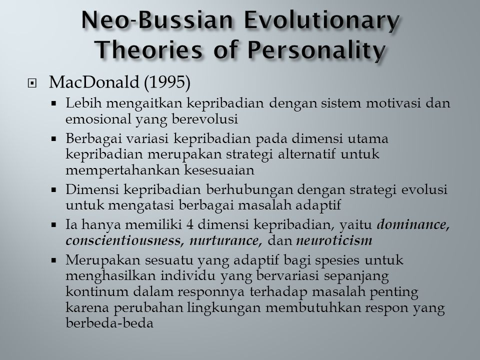 Neo-Bussian Evolutionary Theories of Personality