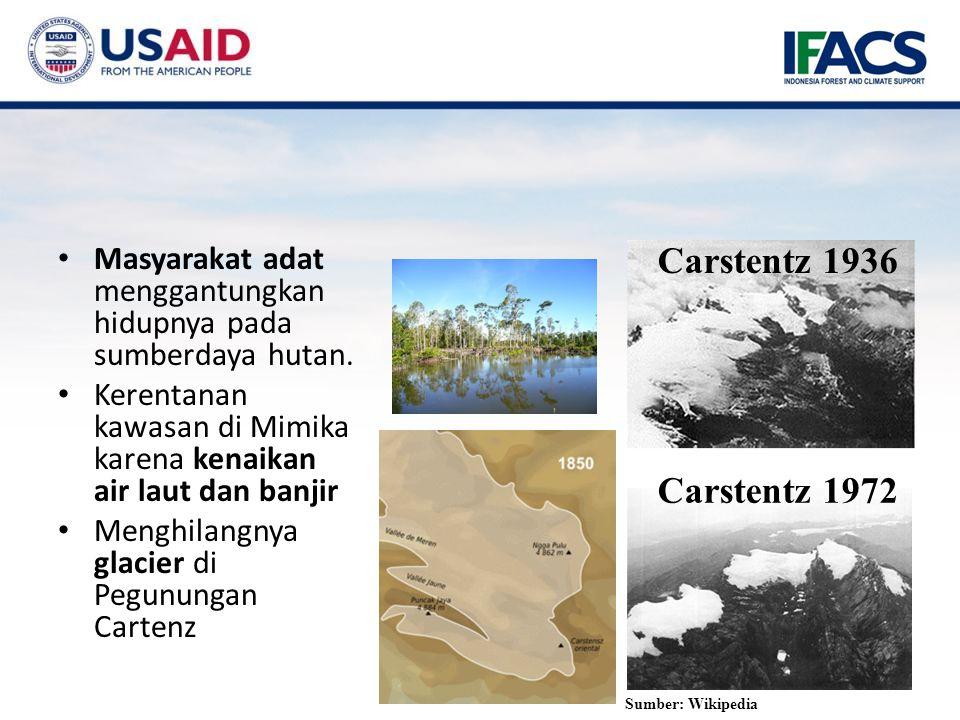 Carstentz 1936 Masyarakat adat menggantungkan hidupnya pada sumberdaya hutan. Kerentanan kawasan di Mimika karena kenaikan air laut dan banjir.