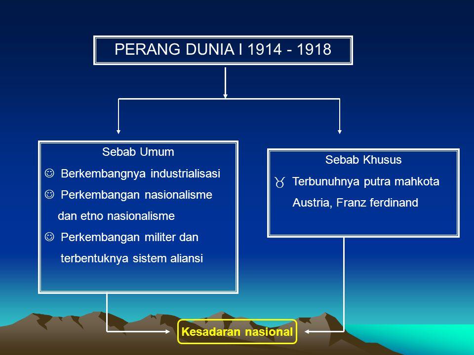 PERANG DUNIA I 1914 - 1918 Sebab Umum Berkembangnya industrialisasi