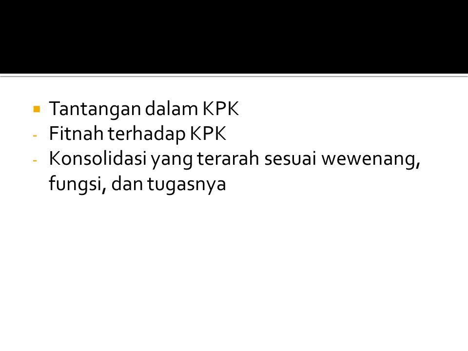Tantangan dalam KPK Fitnah terhadap KPK.