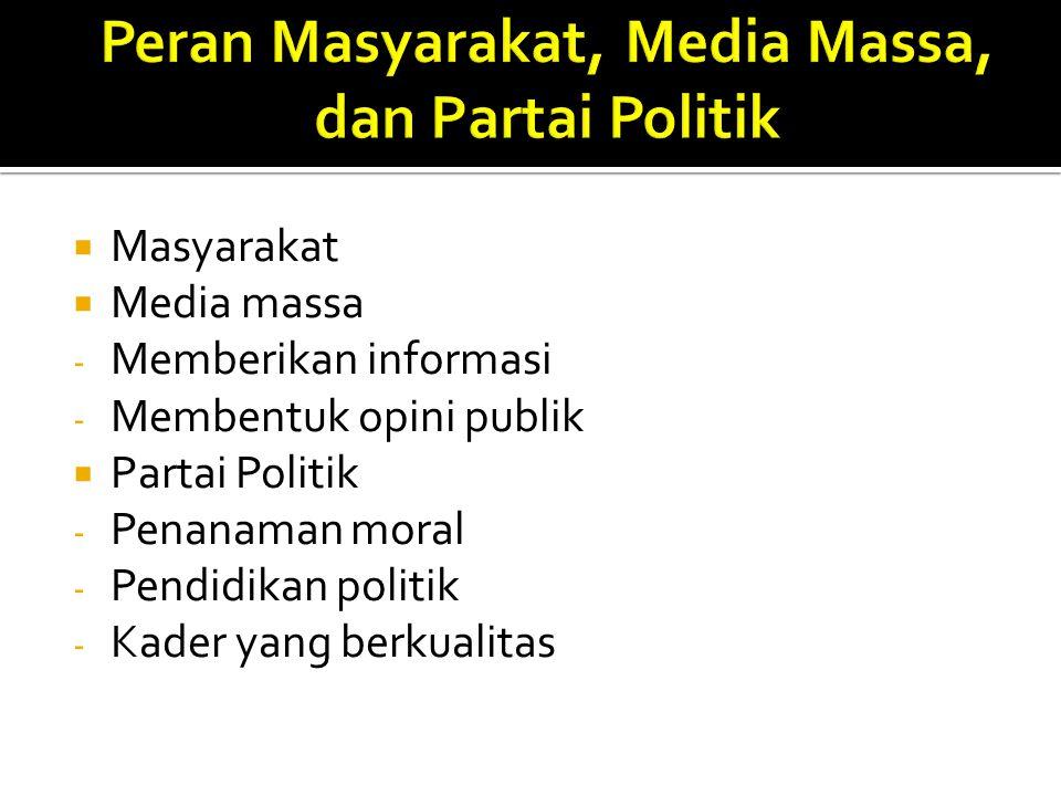 Peran Masyarakat, Media Massa, dan Partai Politik