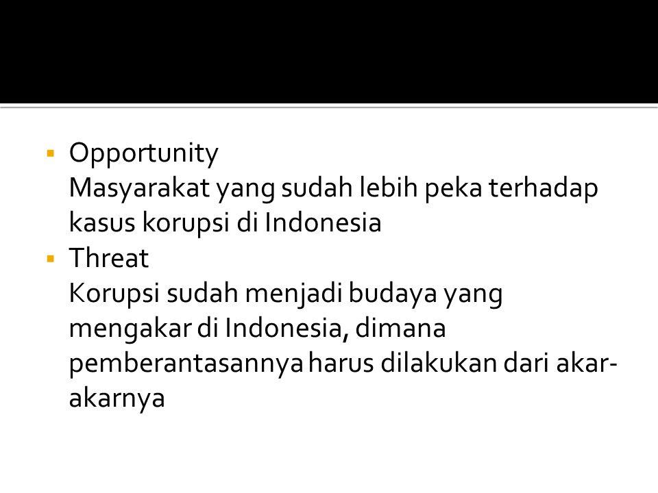 Opportunity Masyarakat yang sudah lebih peka terhadap kasus korupsi di Indonesia. Threat.