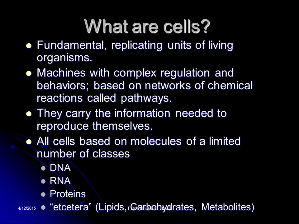 What are cells Fundamental, replicating units of living organisms.