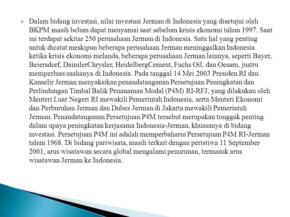 Dalam bidang investasi, nilai investasi Jerman di Indonesia yang disetujui oleh BKPM masih belum dapat menyamai saat sebelum krisis ekonomi tahun 1997.