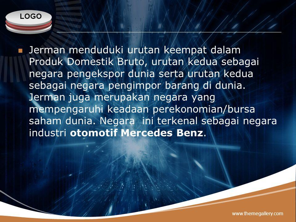 Jerman menduduki urutan keempat dalam Produk Domestik Bruto, urutan kedua sebagai negara pengekspor dunia serta urutan kedua sebagai negara pengimpor barang di dunia. Jerman juga merupakan negara yang mempengaruhi keadaan perekonomian/bursa saham dunia. Negara ini terkenal sebagai negara industri otomotif Mercedes Benz.