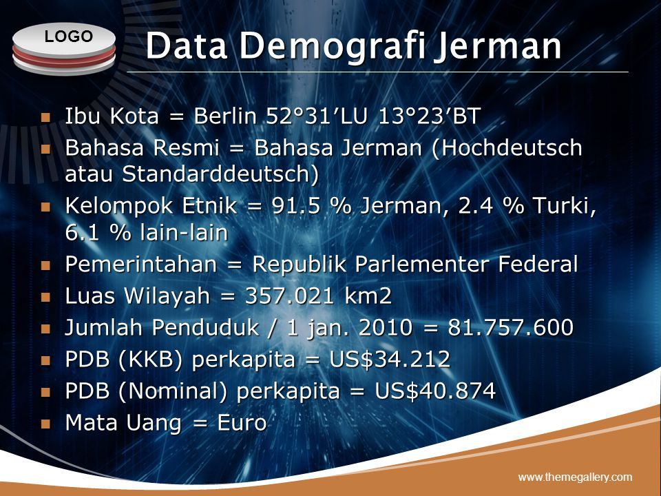 Data Demografi Jerman Ibu Kota = Berlin 52°31′LU 13°23′BT