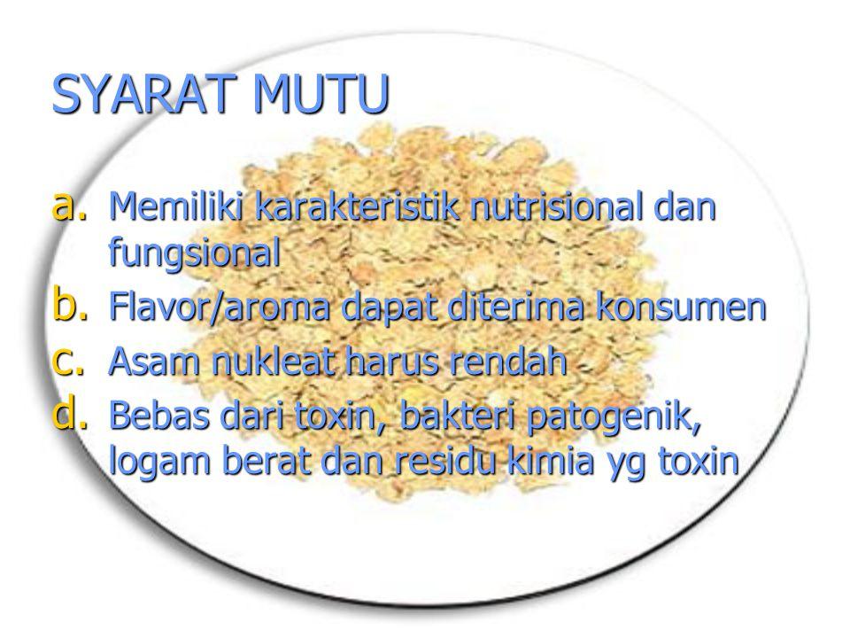 SYARAT MUTU Memiliki karakteristik nutrisional dan fungsional