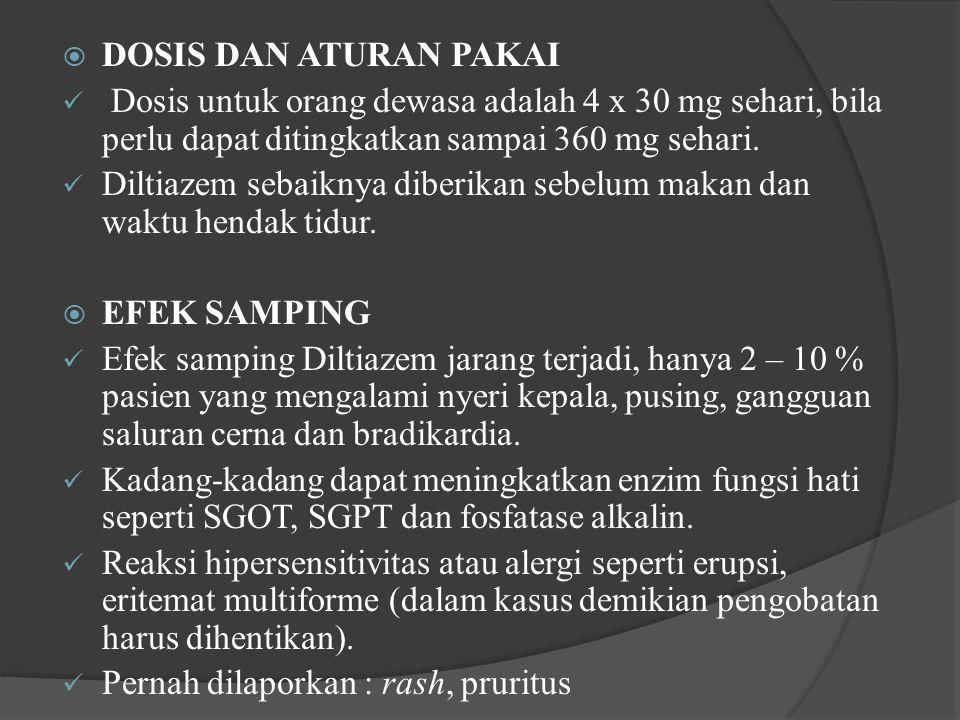 DOSIS DAN ATURAN PAKAI Dosis untuk orang dewasa adalah 4 x 30 mg sehari, bila perlu dapat ditingkatkan sampai 360 mg sehari.