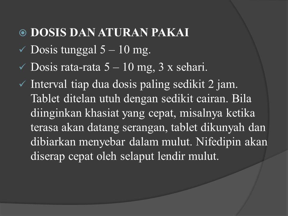 DOSIS DAN ATURAN PAKAI Dosis tunggal 5 – 10 mg. Dosis rata-rata 5 – 10 mg, 3 x sehari.