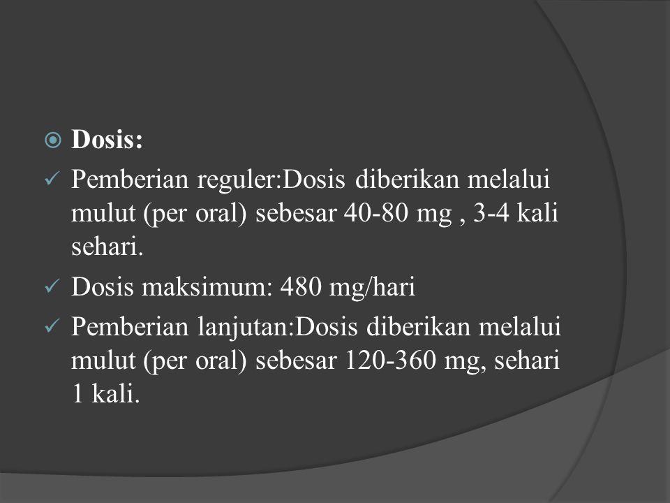 Dosis: Pemberian reguler:Dosis diberikan melalui mulut (per oral) sebesar 40-80 mg , 3-4 kali sehari.