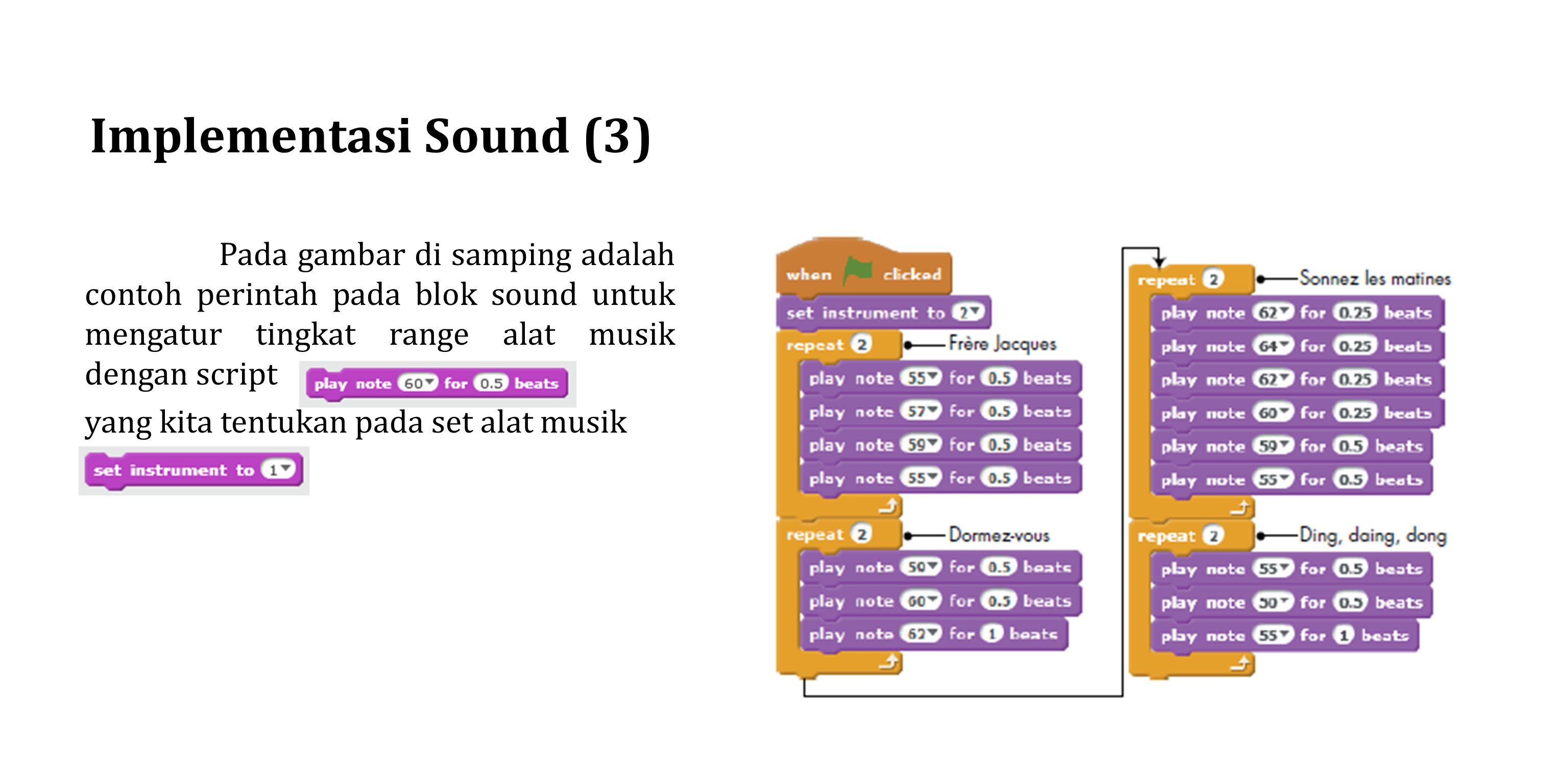 Implementasi Sound (3) yang kita tentukan pada set alat musik