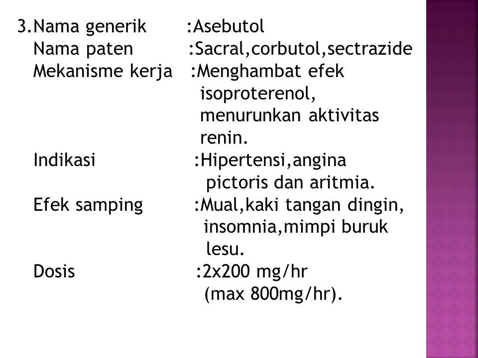 3.Nama generik :Asebutol