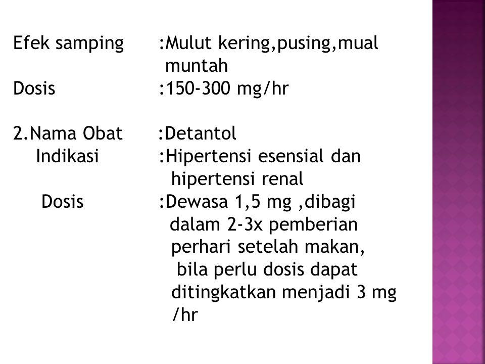 Efek samping :Mulut kering,pusing,mual