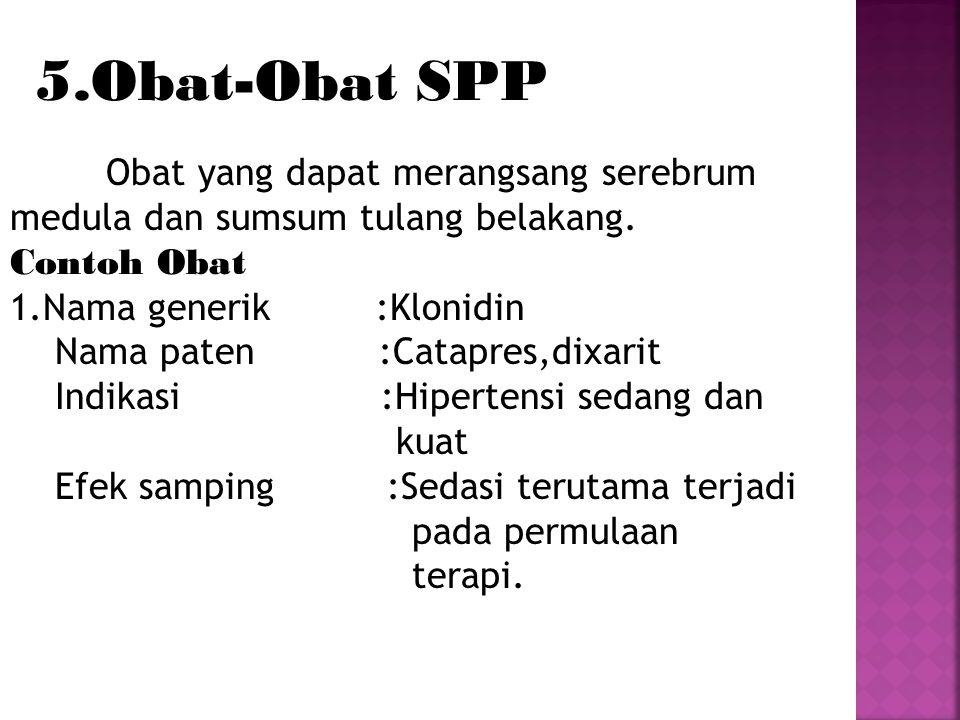 5.Obat-Obat SPP Contoh Obat 1.Nama generik :Klonidin