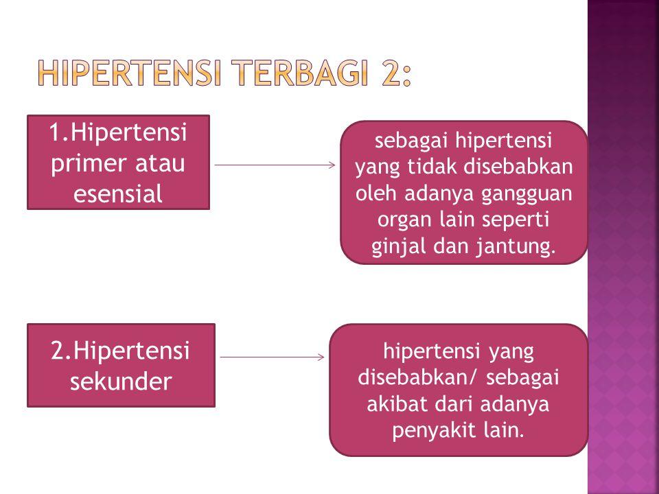 Hipertensi terbagi 2: 1.Hipertensi primer atau esensial