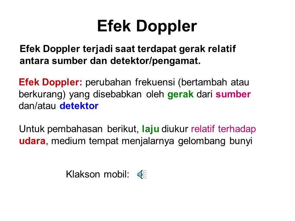 Efek Doppler Efek Doppler terjadi saat terdapat gerak relatif antara sumber dan detektor/pengamat.