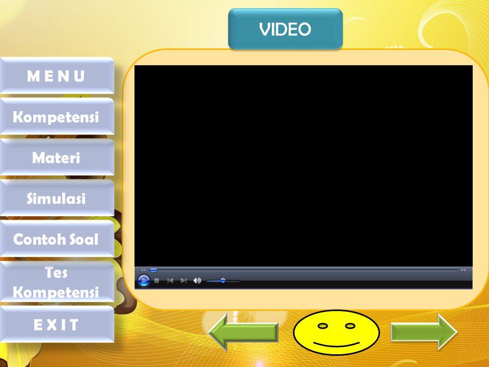 VIDEO M E N U Kompetensi Materi Simulasi Contoh Soal Tes Kompetensi