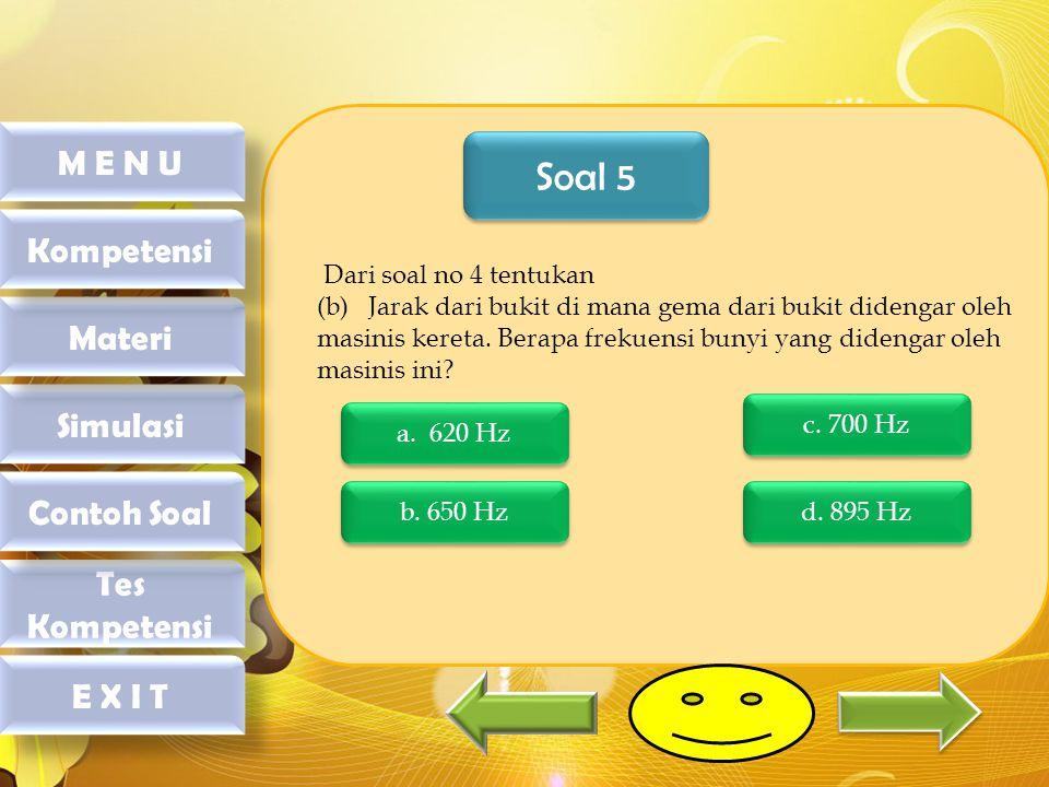 Soal 5 M E N U Kompetensi Materi Simulasi Contoh Soal Tes Kompetensi
