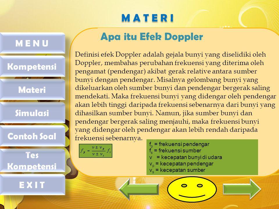 M A T E R I Apa itu Efek Doppler M E N U Kompetensi Materi Simulasi