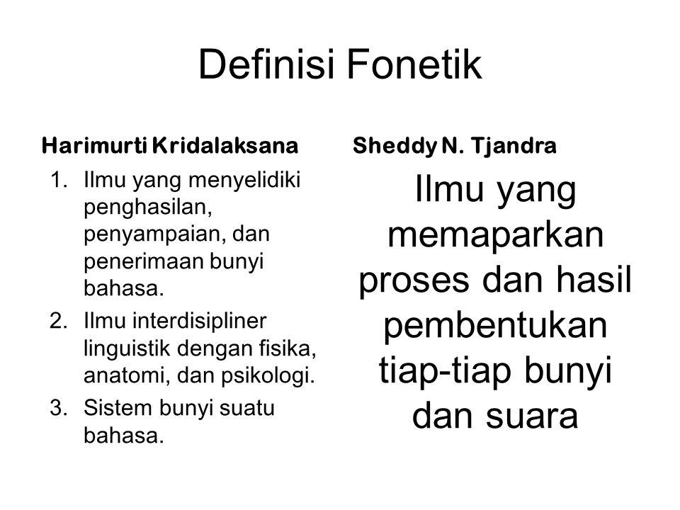 Definisi Fonetik Harimurti Kridalaksana. Sheddy N. Tjandra. Ilmu yang menyelidiki penghasilan, penyampaian, dan penerimaan bunyi bahasa.
