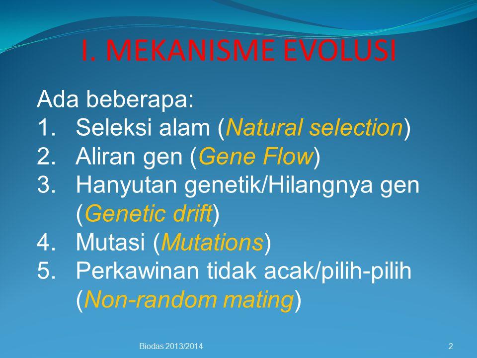 I. MEKANISME EVOLUSI Ada beberapa: Seleksi alam (Natural selection)