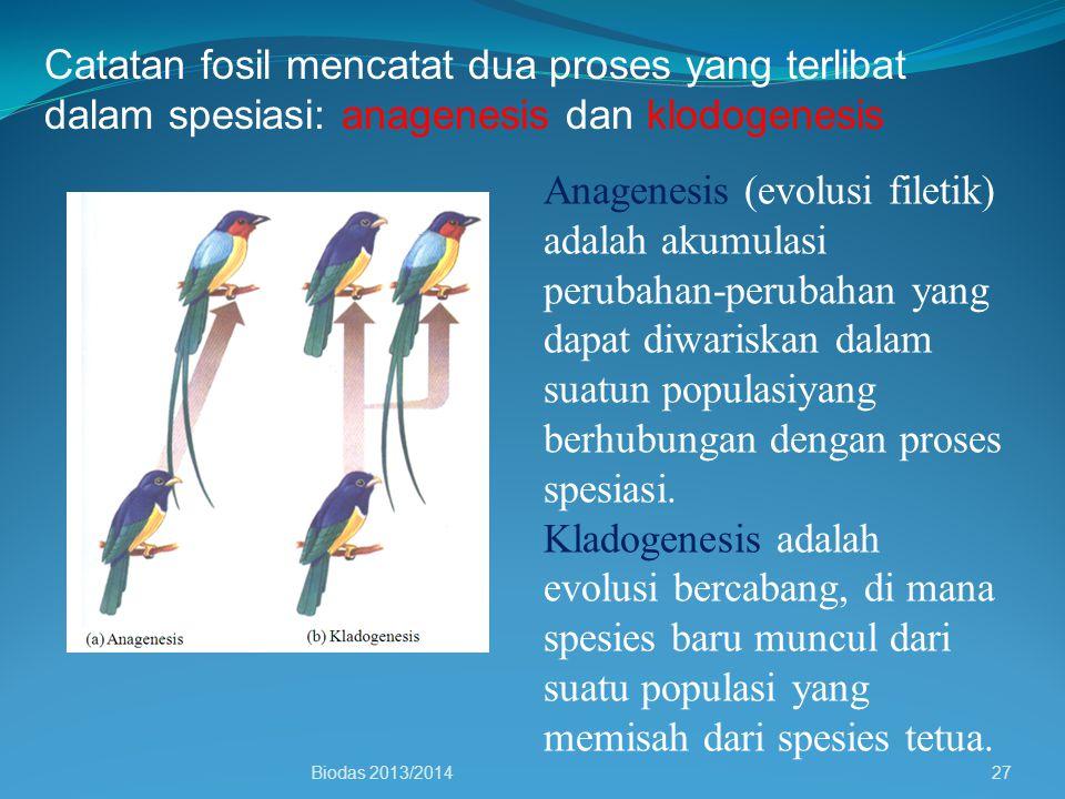 Catatan fosil mencatat dua proses yang terlibat dalam spesiasi: anagenesis dan klodogenesis