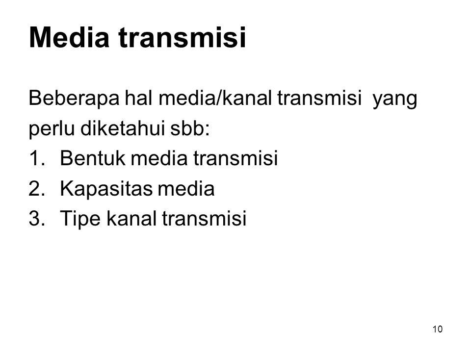 Media transmisi Beberapa hal media/kanal transmisi yang