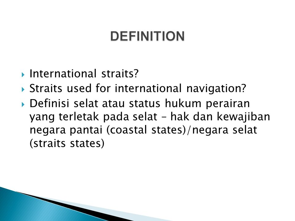 DEFINITION International straits