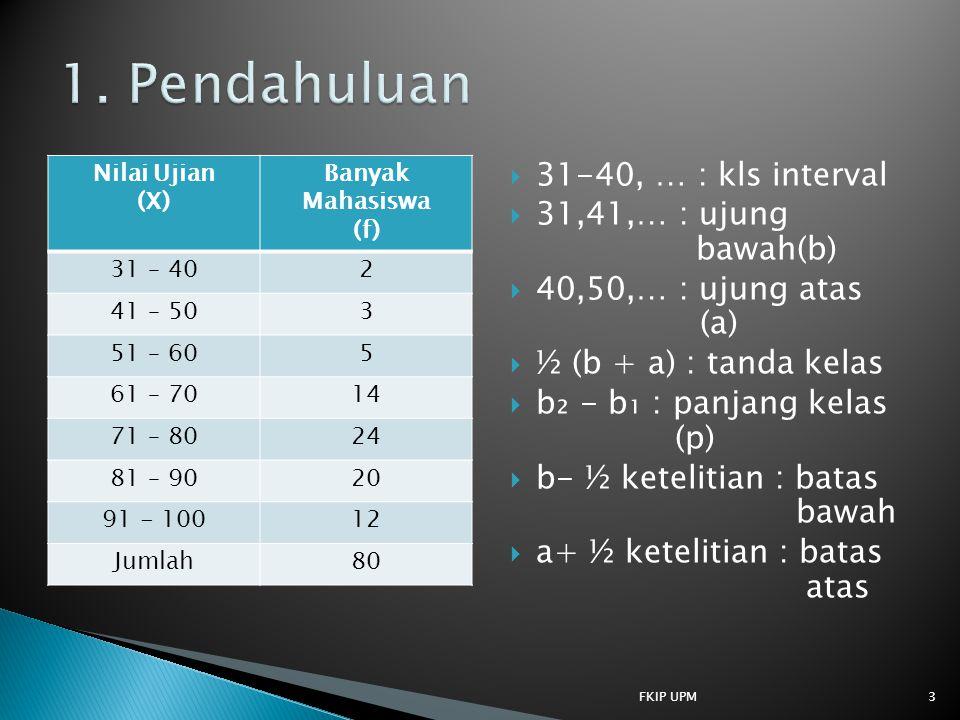 1. Pendahuluan 31-40, … : kls interval 31,41,… : ujung bawah(b)