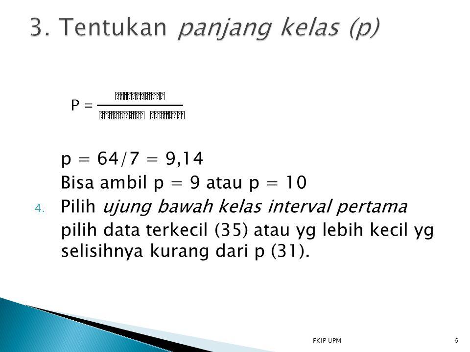 3. Tentukan panjang kelas (p)