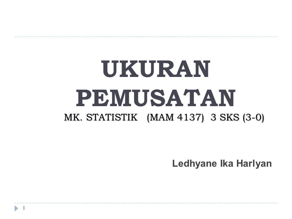 UKURAN PEMUSATAN MK. STATISTIK (MAM 4137) 3 SKS (3-0)