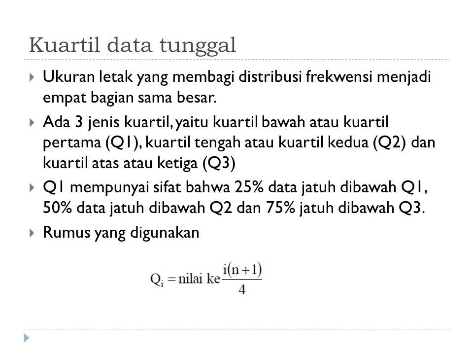 Kuartil data tunggal Ukuran letak yang membagi distribusi frekwensi menjadi empat bagian sama besar.