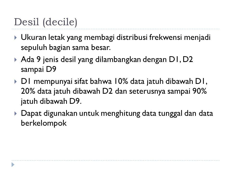 Desil (decile) Ukuran letak yang membagi distribusi frekwensi menjadi sepuluh bagian sama besar.