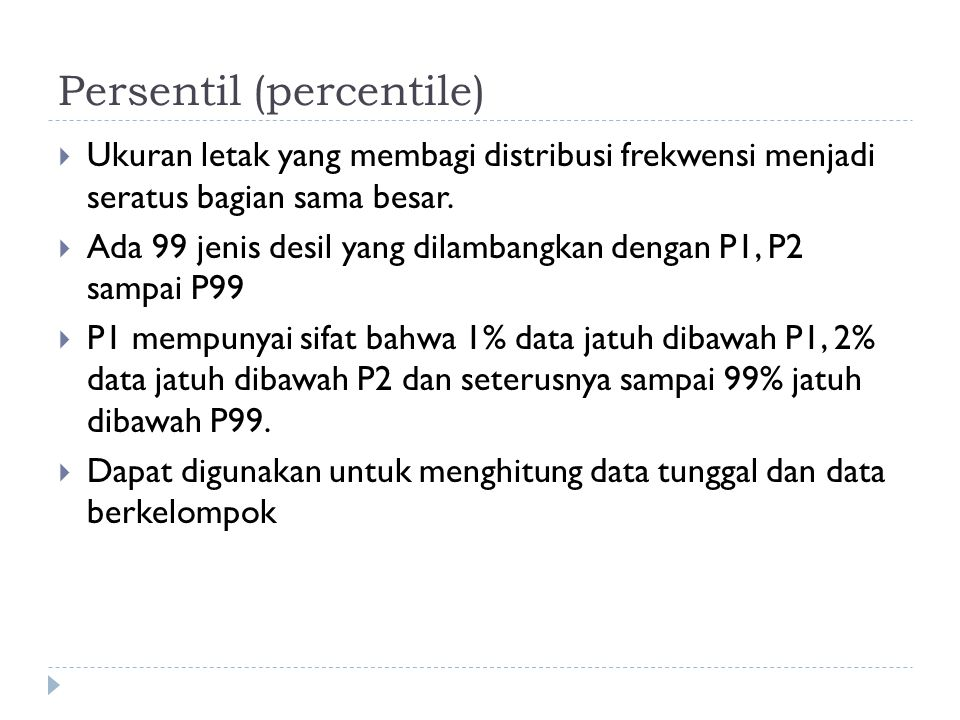 Persentil (percentile)