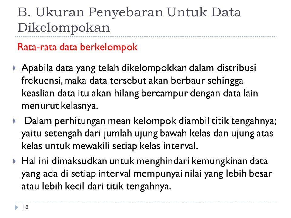 B. Ukuran Penyebaran Untuk Data Dikelompokan